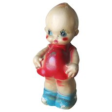 Enormous Kewpie Cupid Chalkware Chalk Ware Figurine Statue Bank in Red White and Blue