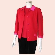 Vintage 1960s Butte Knit Red and Shocking Pink Box Cut Jacket M