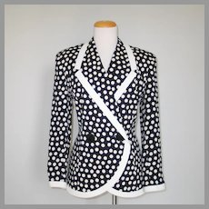 Vintage 1980s Black Cream Polka  Dot Jacket by Albert Nipon M L