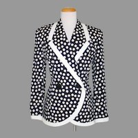 Vintage 1980s Black Cream Polka  Dot Jacket by Albert Nipon M L