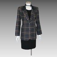 Vintage 1980s Tracy Evans Dark Plaid Blazer with Black Plush Flannel Collar M L