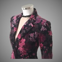 Vintage 1970s Magenta Lilac Black Plum Gray Rose Floral Print Velour Velveteen Jacket M