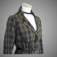 Vintage 1960s Dark Madras Plaid Boxy Jacket L XL