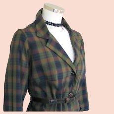 Vintage 1960s Dark Madras Plaid Boxy Jacket L XL