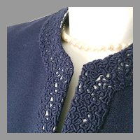 Vintage 1940s Navy Blue Crepe Jacket with Fancy Novelty Trim and Faux Pearl Buttons M