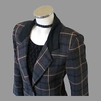 Vintage 1980s Tracy Evans Dark Plaid Blazer with Black Plush Flannel Collar M L