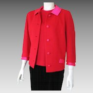 Vintage Lipstick Red 1960s Butte Knit Jacket with Shocking Pink Satin Trim M