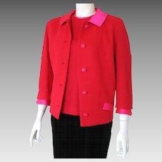 Vintage Lipstick Red 1960s Butte Knit Jacket with Shocking Pink Satin Trim M