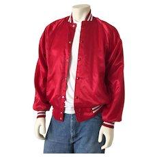 Authentic Vintage 1970s Red Satin Baseball Jacket White Rib Trim Disco Roller Skating Era M L