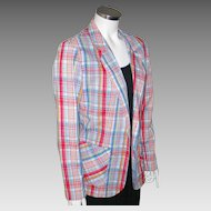 Vintage 1970s Red White and Blue Plaid Seersucker Summer Ladies Jacket  M L