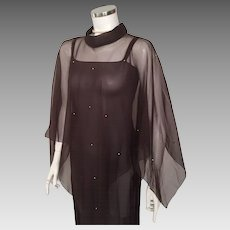 Vintage 1970s Sheer Brown Cape With Golden Studded Beads OSFA