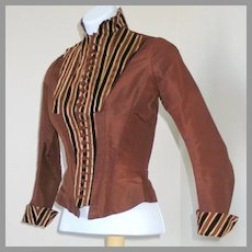 Antique 1885 Boned Bodice Winter Jacket of Copper Faille with Brown & Cream Velvet Stripes