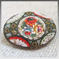 Vintage Victorian Italian Glass Flower Mosaic Brooch
