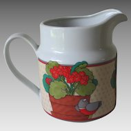 Vintage 1970s Geranium Bird Print Pitcher San Francisco