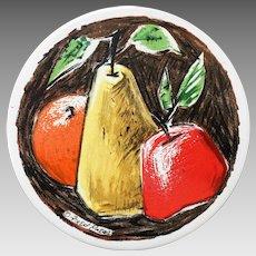 Vintage 1960s Fred Press Round Tile Trivet Hot Pad with Fruit Design Signed