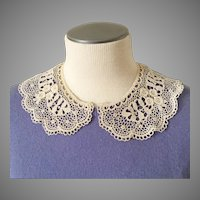 Antique Crochet Lace Peter Pan Rounded Collar Scalloped Edging