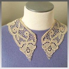 Vintage Cream Cotton Hand Worked Lace Crochet Tatting Collar
