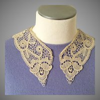 Vintage Cream Cotton Hand Worked Lace Crochet Tatting Collar