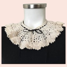 Vintage 1930s Crocheted Creamy White Lace Collar with Contrasting Black Satin Ribbon