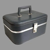 Vintage 1960s Marine Gray Travel Train Makeup Case Luggage Suitcase