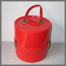 Vintage 1960s Tomato Red Mod Plastic Wig Tote Carrier Hat Box Luggage