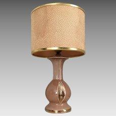 Vintage 1940s MCM Fawn Brown Gilt Trimmed Bedside Table Lamp