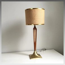 Vintage 1950s 1960s Mid Century Modern MCM Wood and Metal Table Lamp