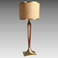 Vintage 1950s 1960s Mid Century Modern Wood Metal Table Lamp