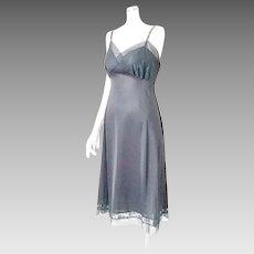 Vintage 1950s Black Suavette Nylon and Lace Van Raalte Full Slip S M