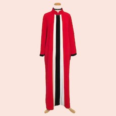 Vintage 1970s Red Plush Velour Lounging Robe with Black and White Stripes  XL XXL