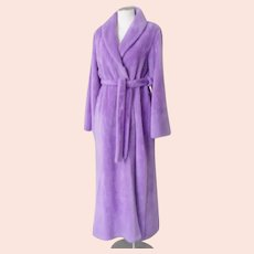 Vintage 1970s Lavender Lilac Purple Fluffy Plush Pile Robe with Shawl Collar and Belt  L XL