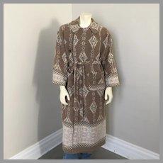 Vintage 1980s Geometric SW Border Print Blanket Robe Coat Cocoa Cream Blue  L XL
