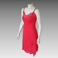 "Vintage 1950s Red Lace Slip Lingerie by ""Top Form"" with Applique and Embroidery Trim"