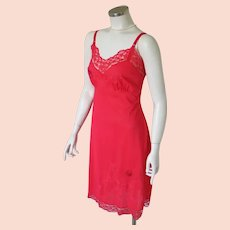 """Vintage 1950s Red Lace Slip Lingerie by """"Top Form"""" with Applique and Embroidery Trim"""