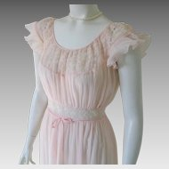 Vintage 1950s Peach Pink Pleated Barbizon Flattery Nightgown 12 Miss