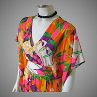 Vintage 1960s Bright Bohemian Hippie Neon Abstract Print Caftan