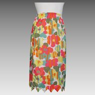 Vintage 1960s Bright Abstract Floral Print Half Slip with Arrow Pointed Hem XS S