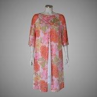Vintage 1960s Vanity Fair Tangerine Yellow Pink Sage Floral Print Spring Robe Cover Up M