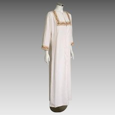 Vintage 1960s Muslin Caftan with Orange Red Green Embroidered Trim M