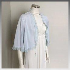 Vintage 1950s Sheer Sky Blue Ruffled Dream Lingerie Bed Jacket Bedjacket by Pinehurst L