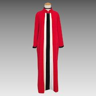 Vintage 1970s Red Plush Velour Lounging Robe with Black and White Stripes  XL XXL Volup