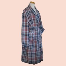 Vintage 1970s Blue and Red Madras Plaid Shawl Collared Robe M L