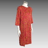 Vintage 1960s Hot Pink Harvest Gold Abstract Floral Paisley Print Robe Housecoat by Peer L