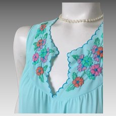 Vintage 1960s Aqua Turquoise  Nightgown with Pink and Green Embroidery by Gossard M
