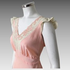 Vintage 1930s 1940s Peach Rayon with Cream Lace Trim Bias Cut Nightgown Laura Lane Lingerie