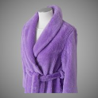 Vintage 1970s Lavender Lilac Purple Fluffy Plush Pile Robe with Shawl Collar and Self Belt  L XL