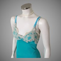 Vintage 1960s Turquoise Teal Blue Slip with Ecru Lace Trim M