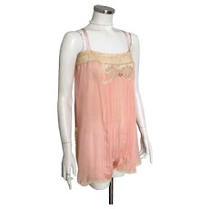 Vintage 1920s 1930s Peach Silk with Ecru Lace Trim Step In Teddy Lingerie S M