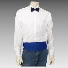 Vintage 1970s Blue Cummerbund Formal Wear Menswear