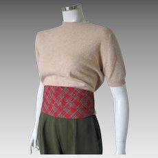 Vintage 1960s Red and Green Tartan Plaid Cummerbund Belt His Or Hers